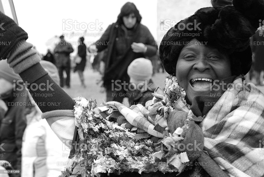Black woman celebrating Obama's inauguration stock photo