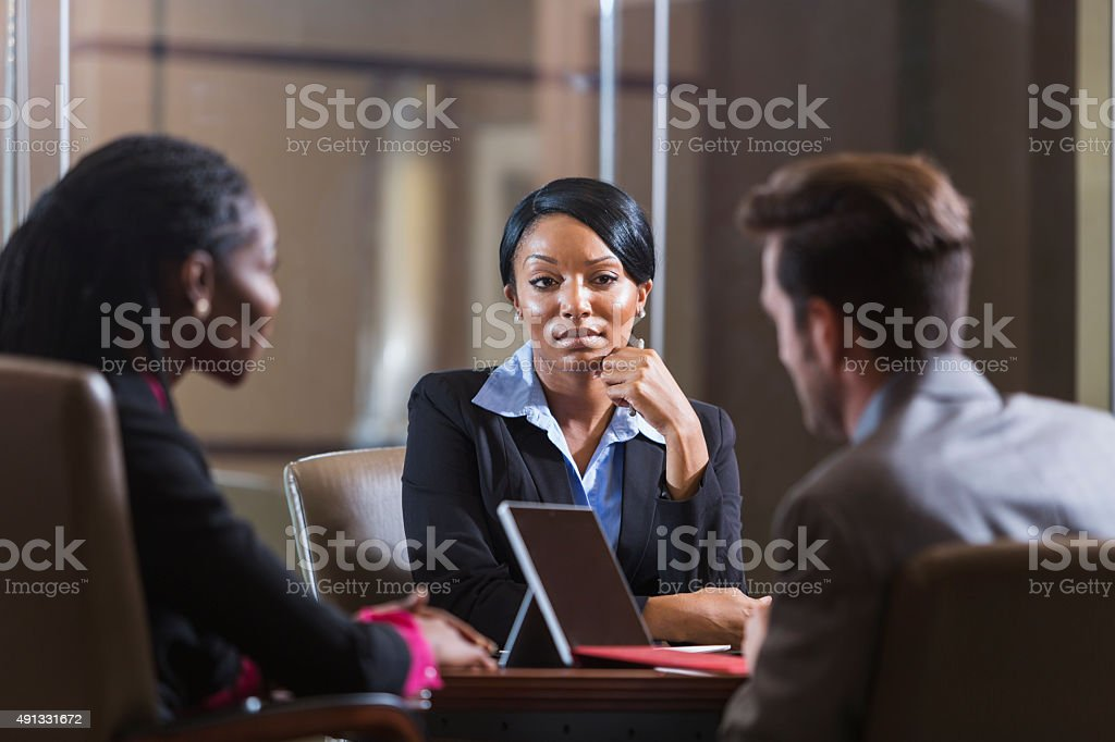 Black woman in a business meeting stock photo