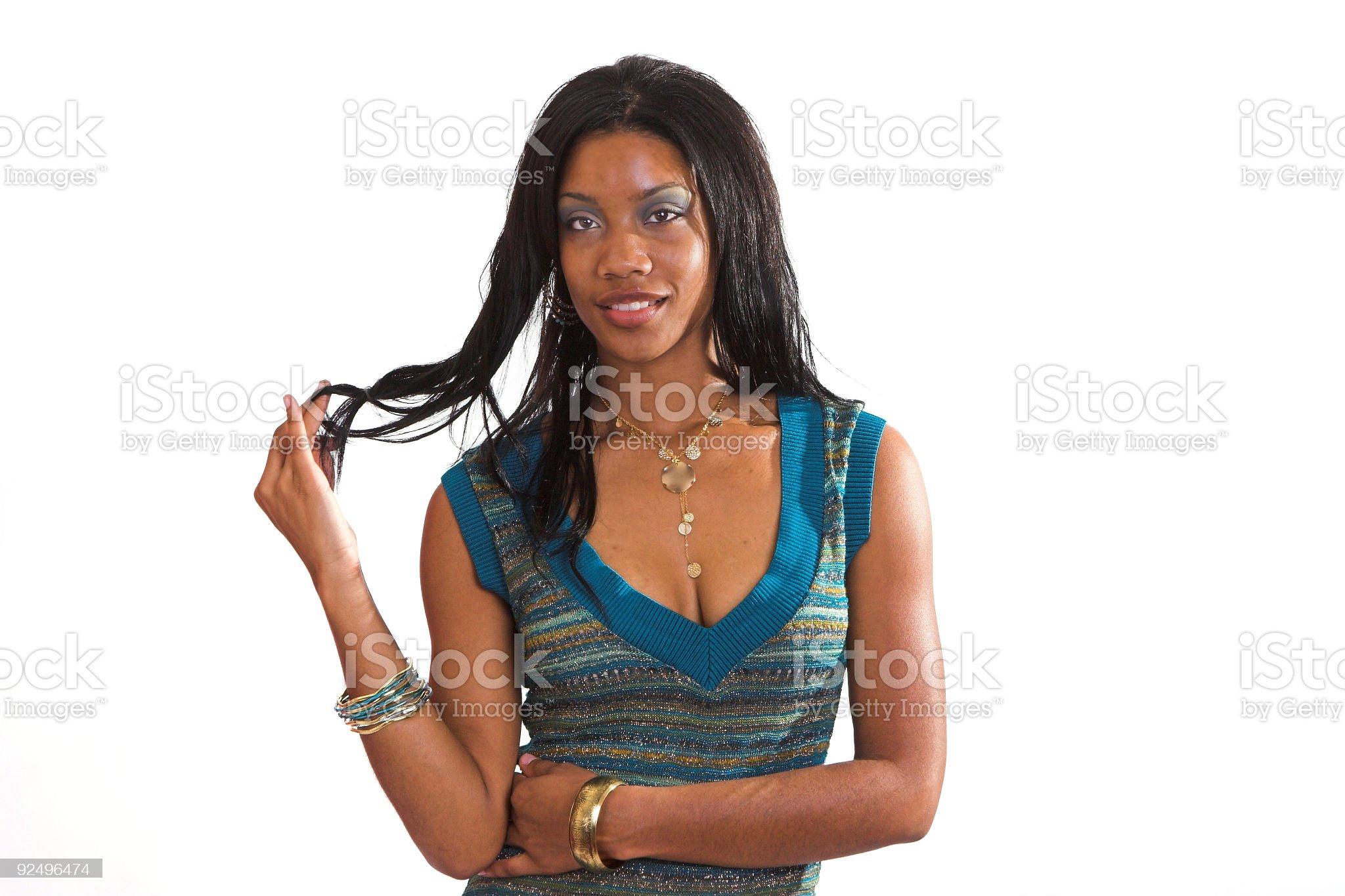 Black woman, Long Hair 2 royalty-free stock photo
