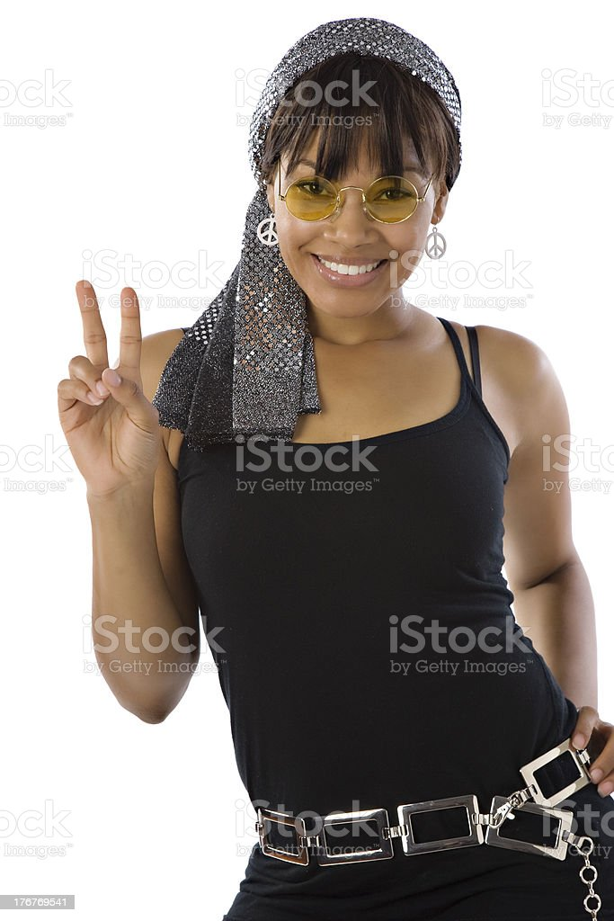 Black Woman Making Peace Sign royalty-free stock photo