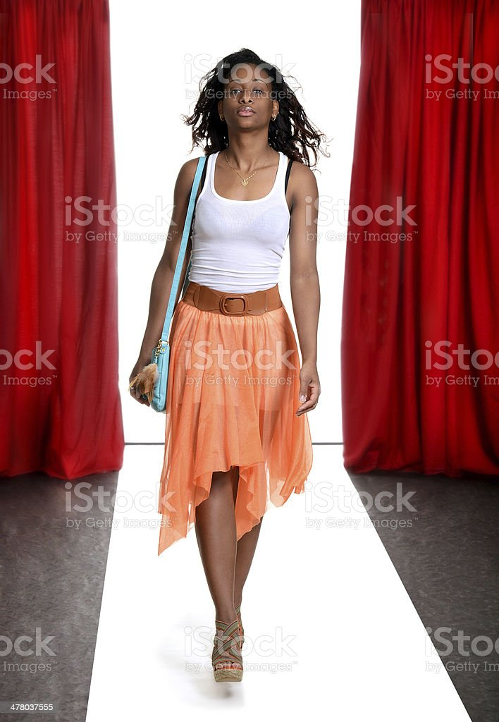 black woman on the catwalk royalty-free stock photo