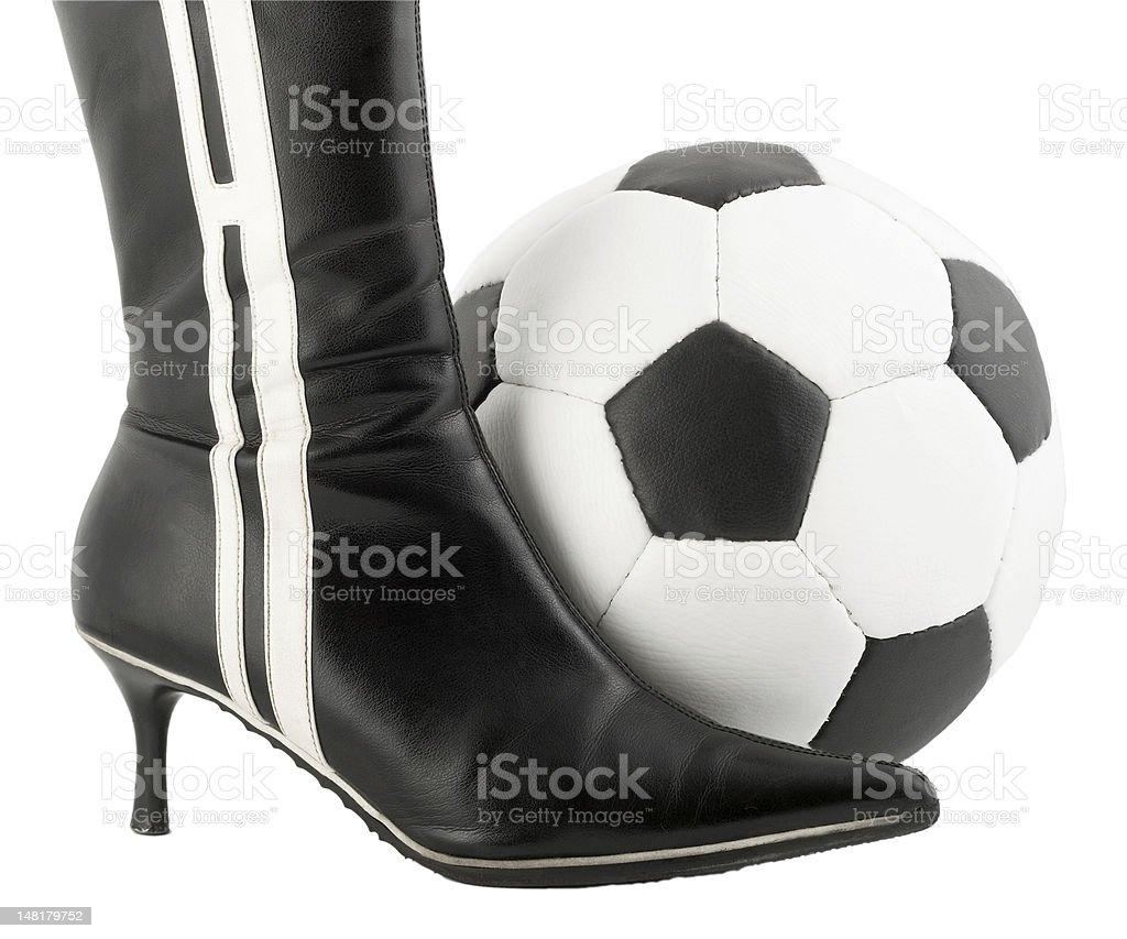 Black woman shoe and football ball royalty-free stock photo