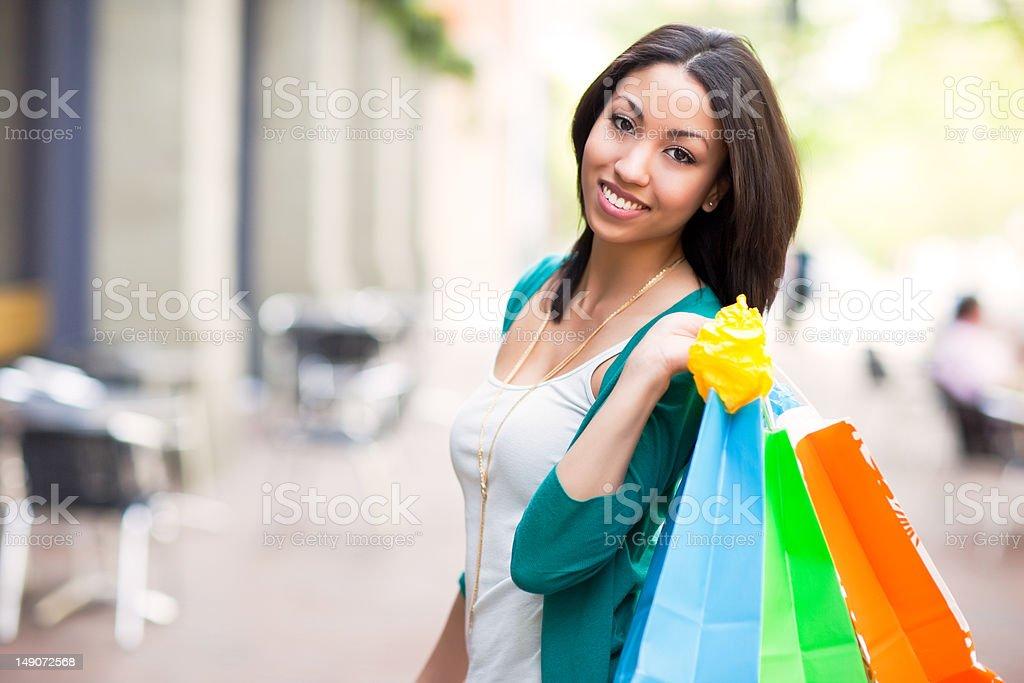 Black woman shopping stock photo