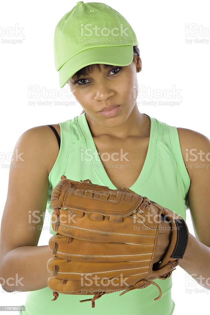 Black Woman Softball Player Looking Competitive royalty-free stock photo