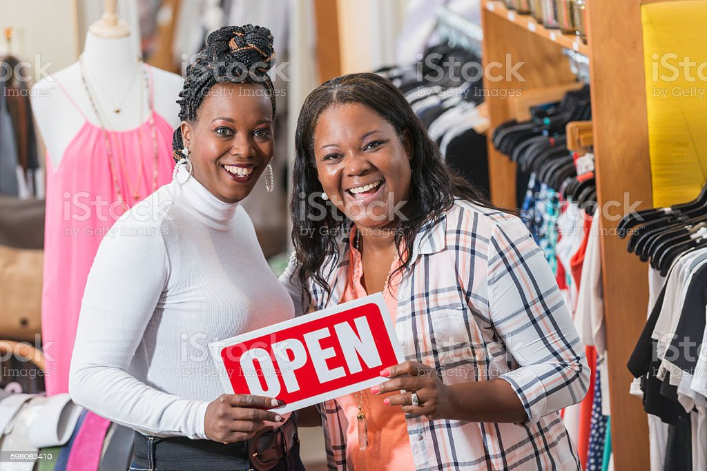 Black women, owners of successful small business stock photo