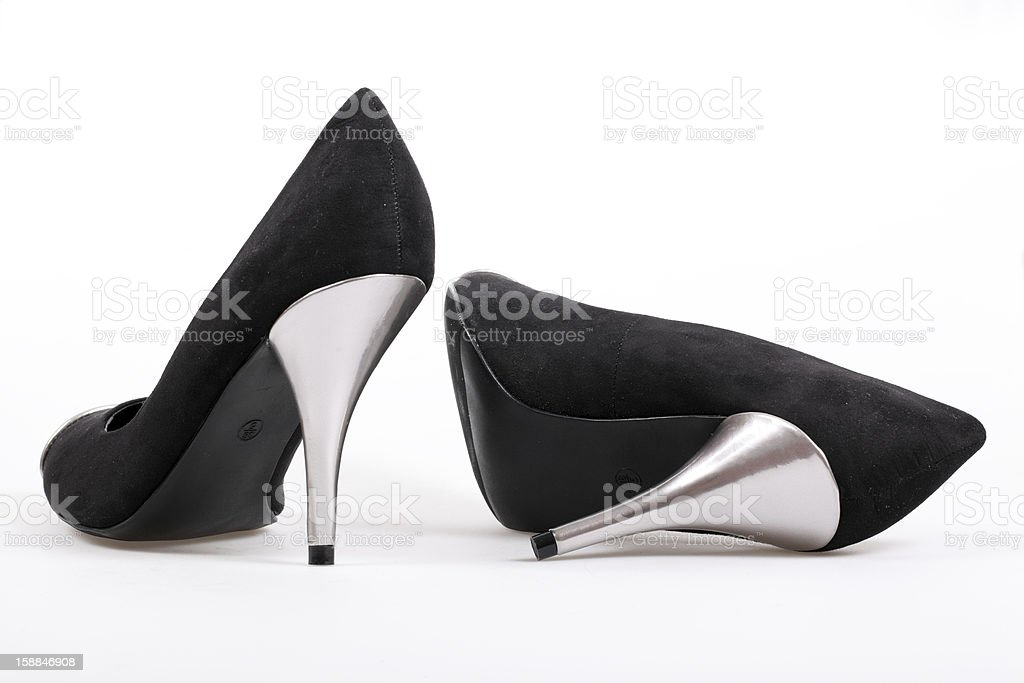 Black women's heel shoes royalty-free stock photo
