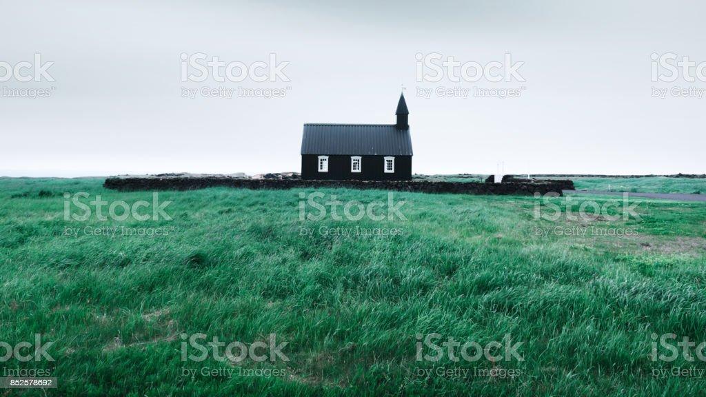 Black wooden church Budakirkja stock photo