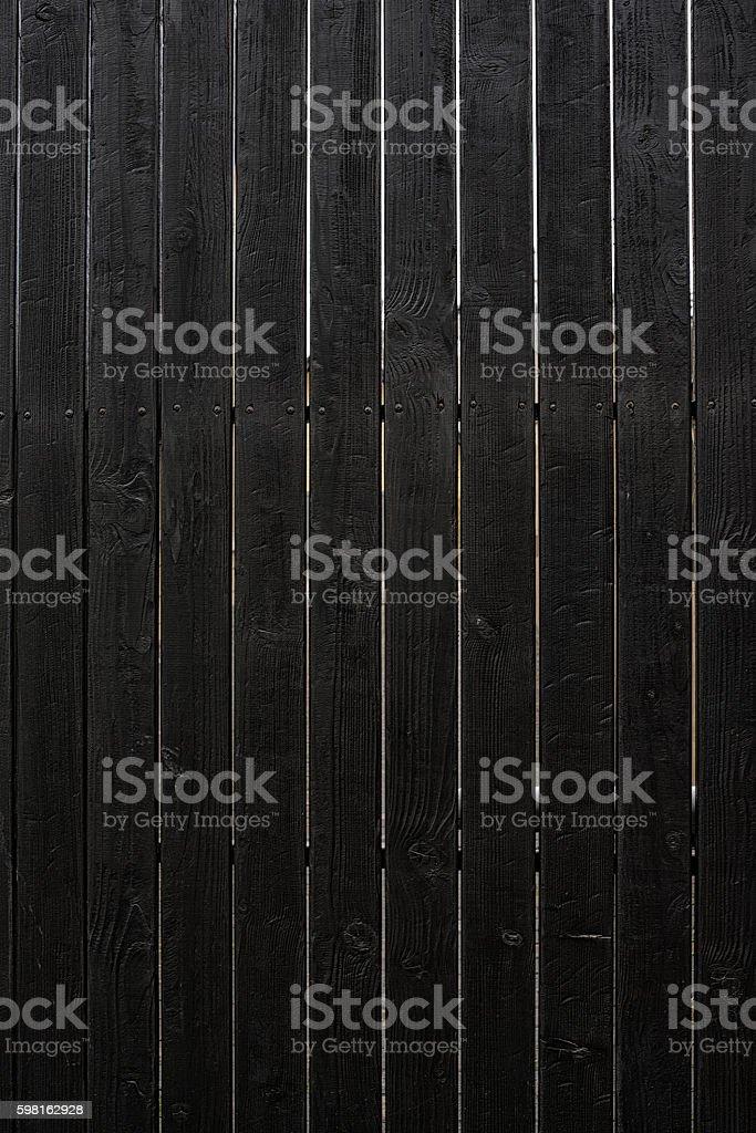 Black wooden fence. stock photo