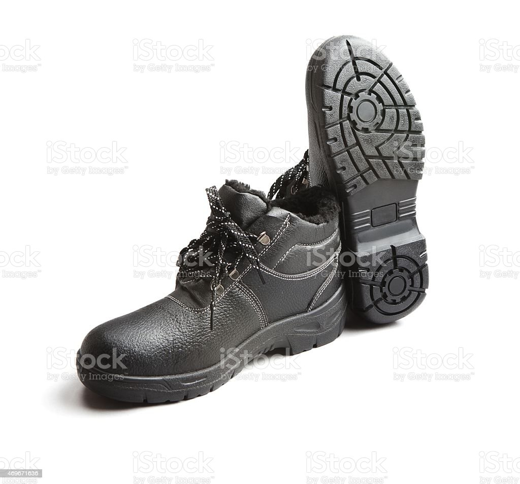 Black working shoes stock photo