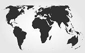 Black world map on gradient background