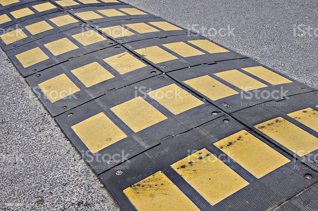 Black Yellow Diagonal Road Bump royalty-free stock photo