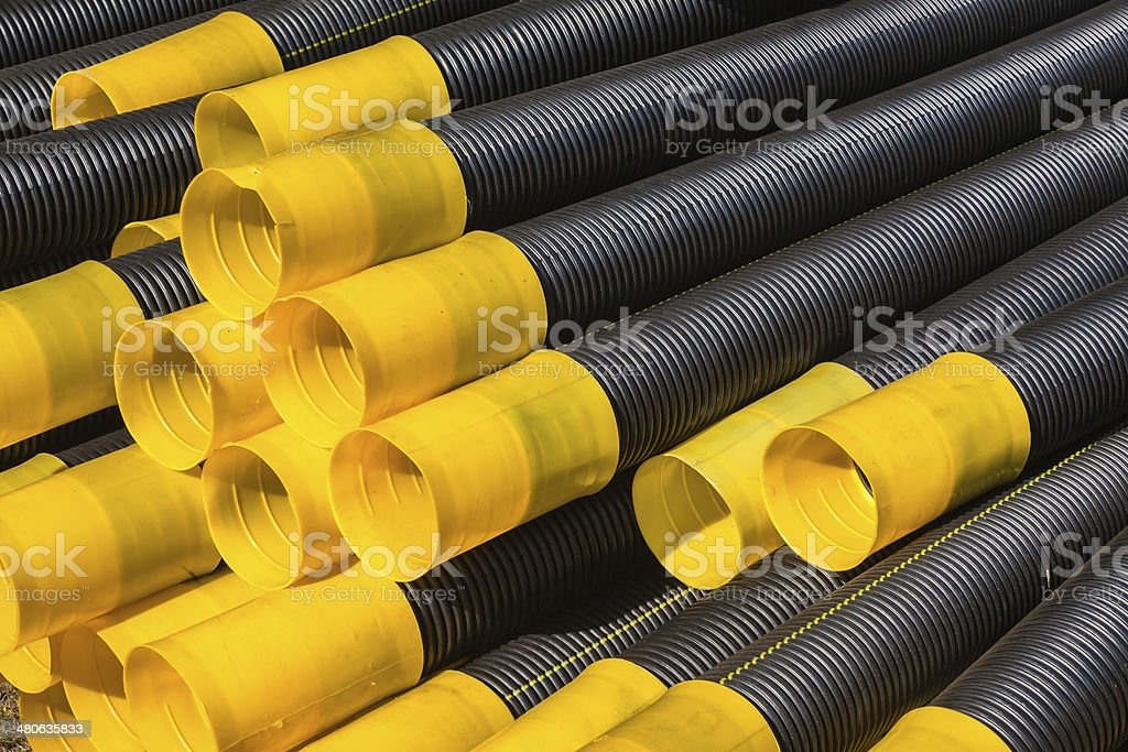 Black Yellow Pipes stock photo