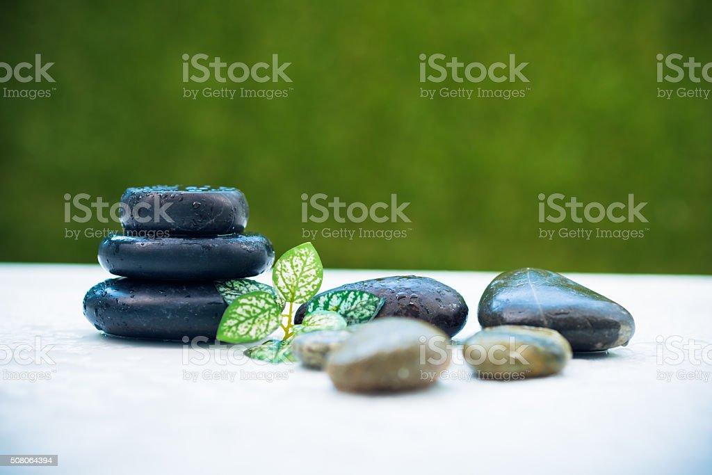 Black zen stones stock photo