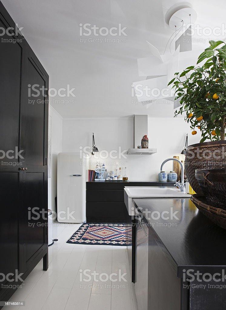 Black_white kitchen royalty-free stock photo