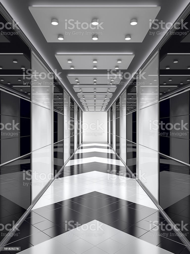 Black-and-white corridor. royalty-free stock photo