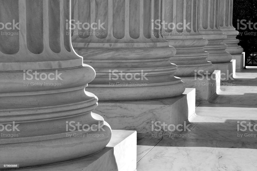 Black-and-White of Columns at U.S. Supreme Court stock photo