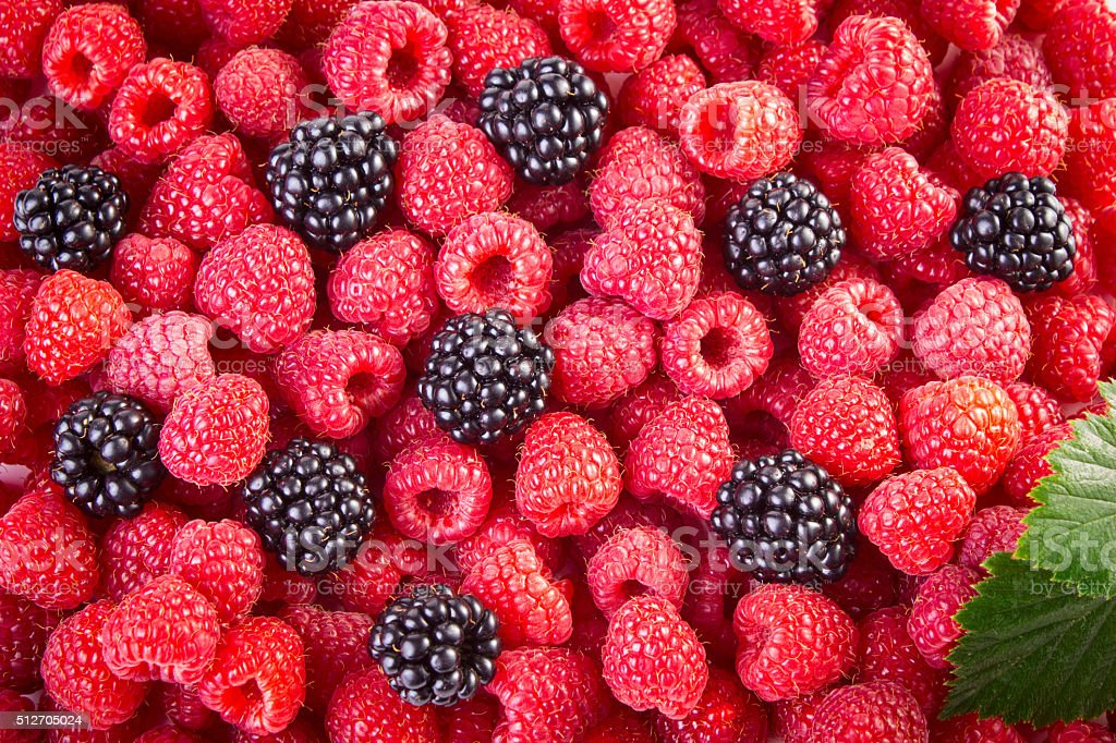 Blackberries and raspberries stock photo