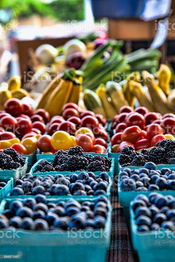 blackberries at the market stock photo