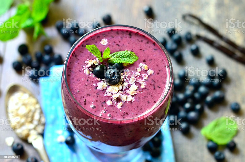 Blackberry and banana smoothie. stock photo