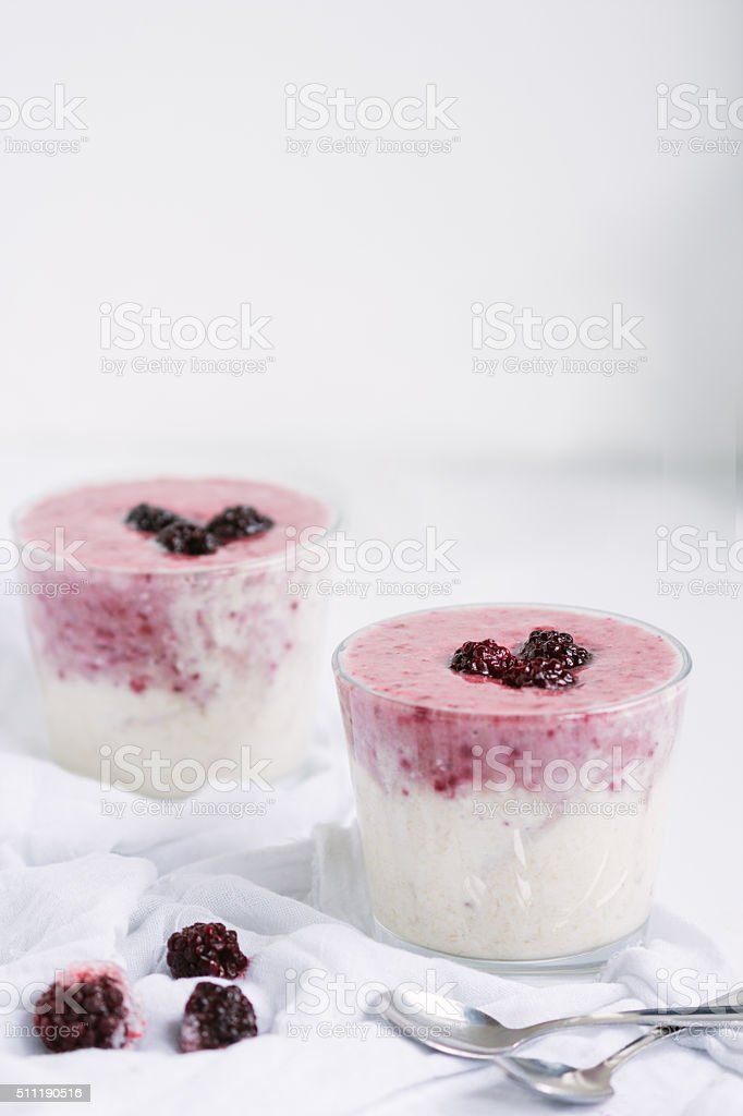 Blackberry and banana smoothie with blackberry fruit and oatmeal royalty-free stock photo