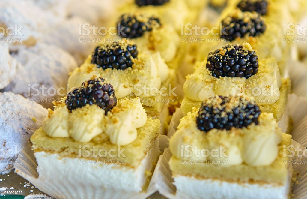 blackberry and chantilly cakes stock photo