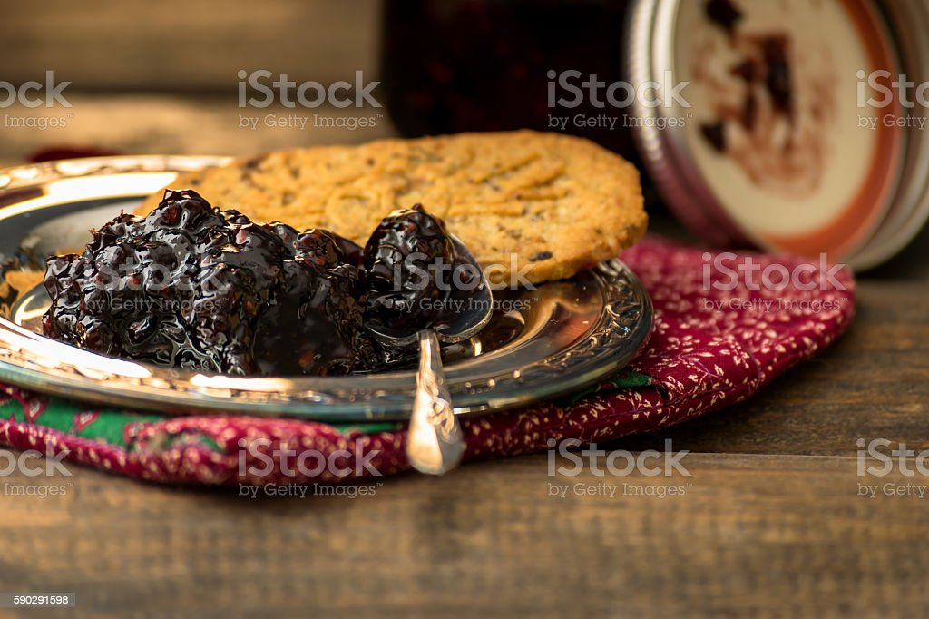 Blackberry Jam and Biscuits stock photo