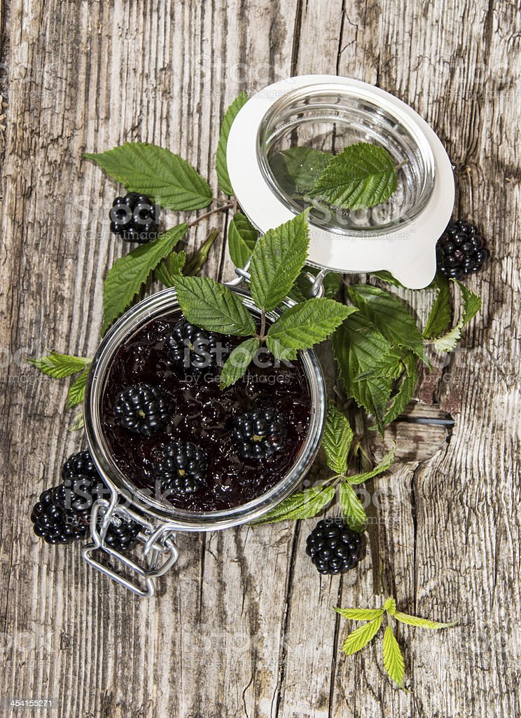 Blackberry Jam in a glass stock photo