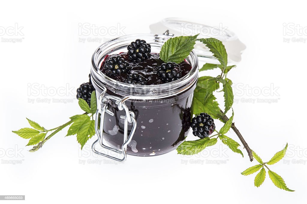 Blackberry Jam isolated on white stock photo