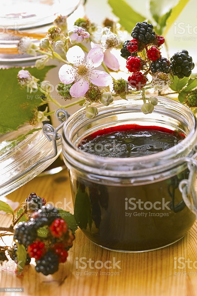 Blackberry jelly stock photo
