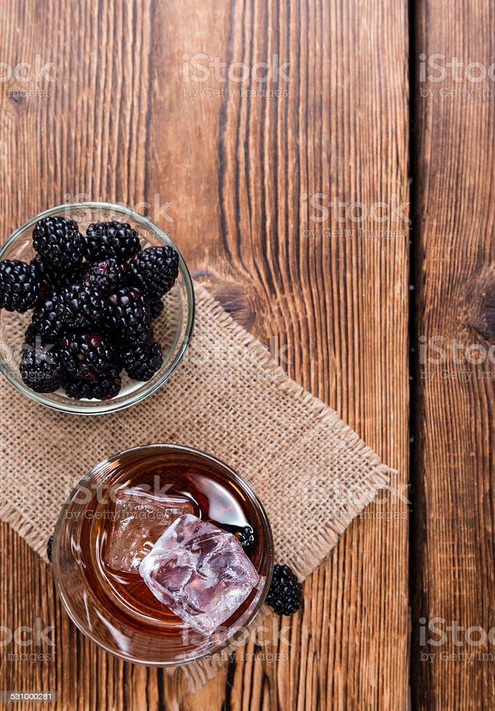 Blackberry Liqueur in a shot glass stock photo