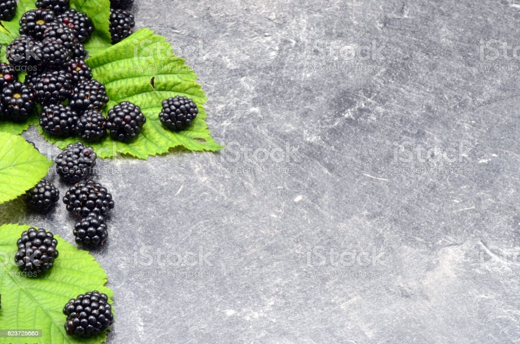 BlackBerry on black background stock photo