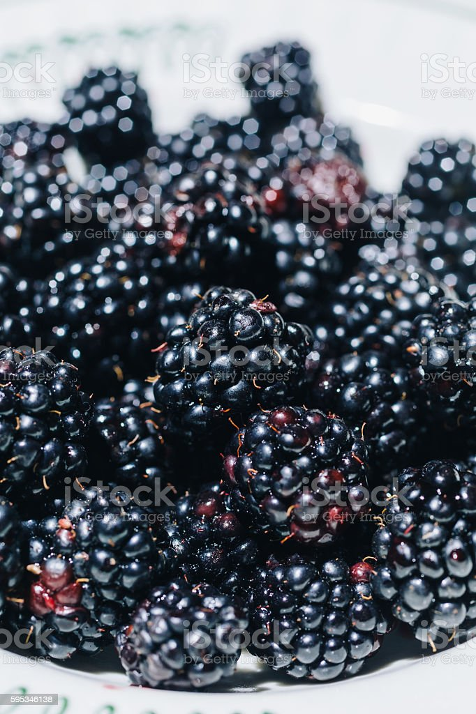 Blackberry on plate in close-up stock photo