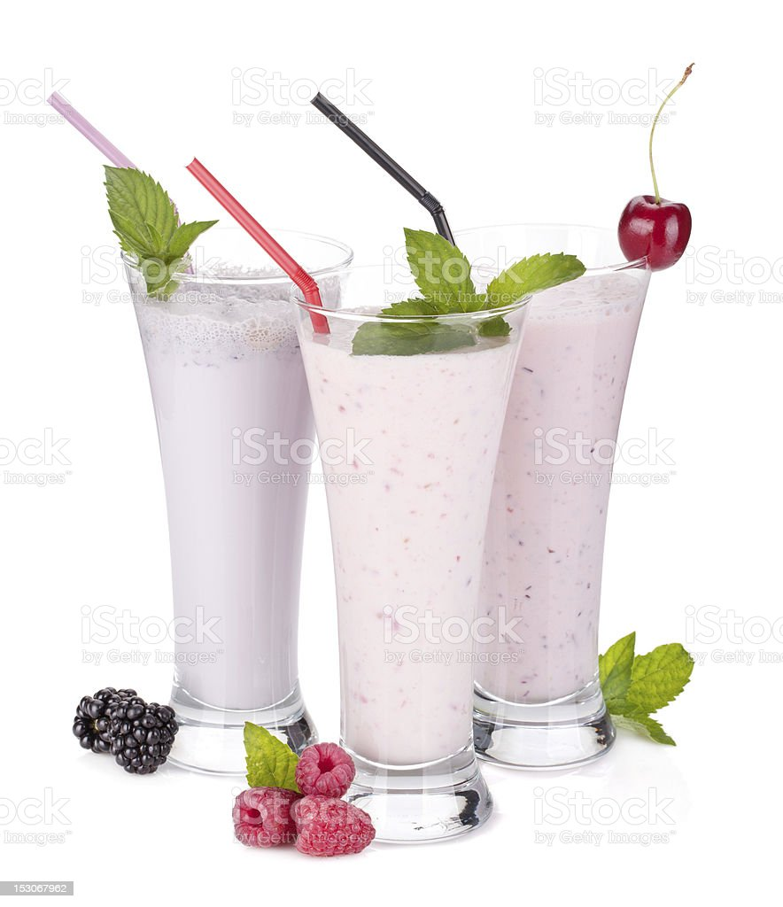 Blackberry, raspberry and cherry milk smoothie with mint royalty-free stock photo