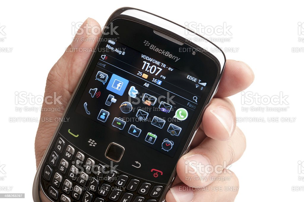 Blackberry Smartphone on Hand stock photo
