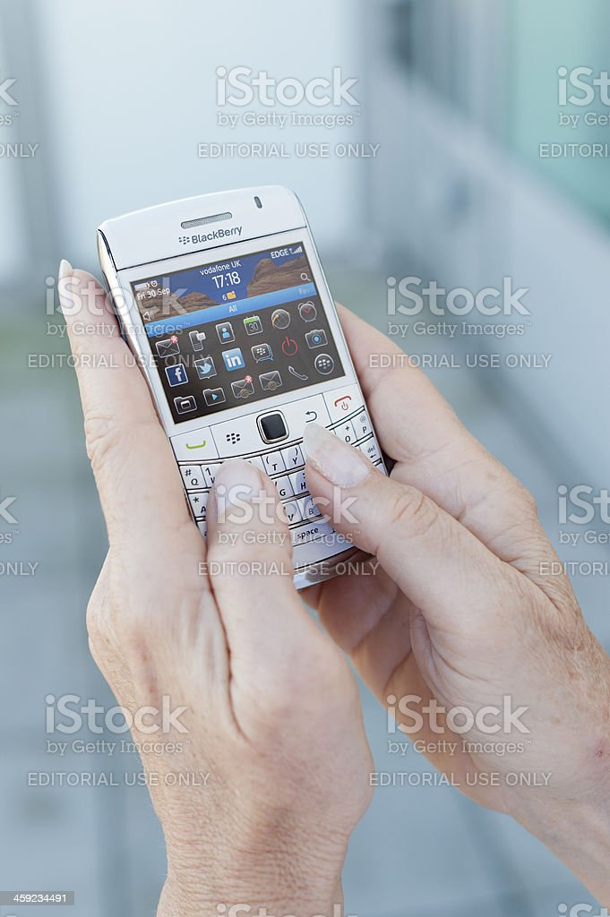 BlackBerry Smartphone With Social Networking Apps - Close Up royalty-free stock photo
