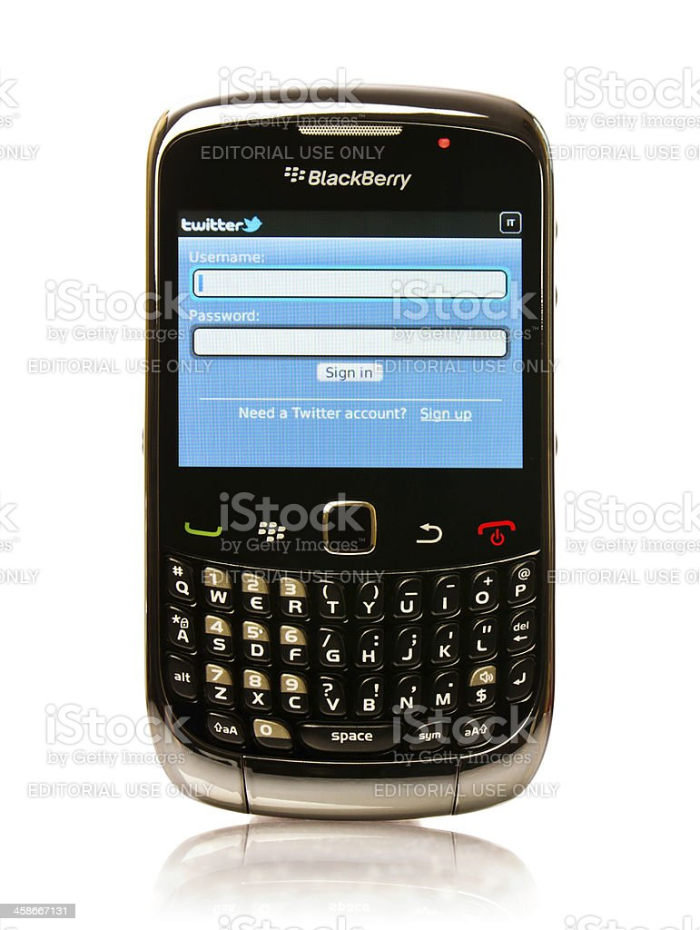 Blackberry with Twitter Application stock photo
