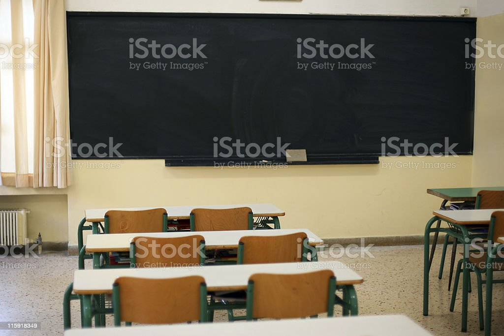 Blackboard and Benches royalty-free stock photo