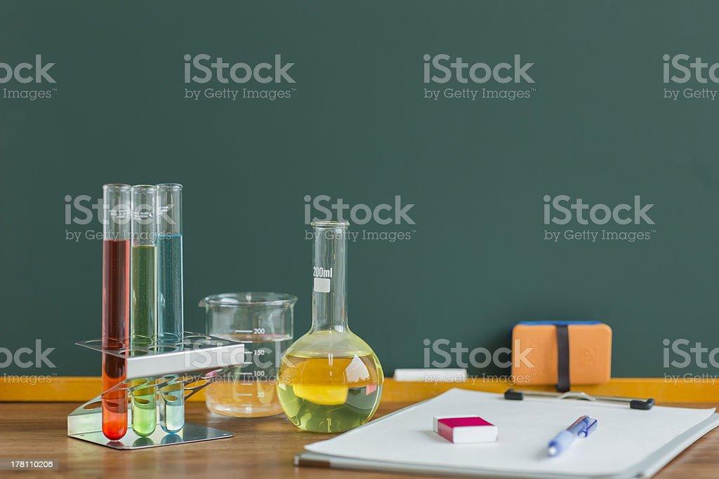 Blackboard and labware stock photo
