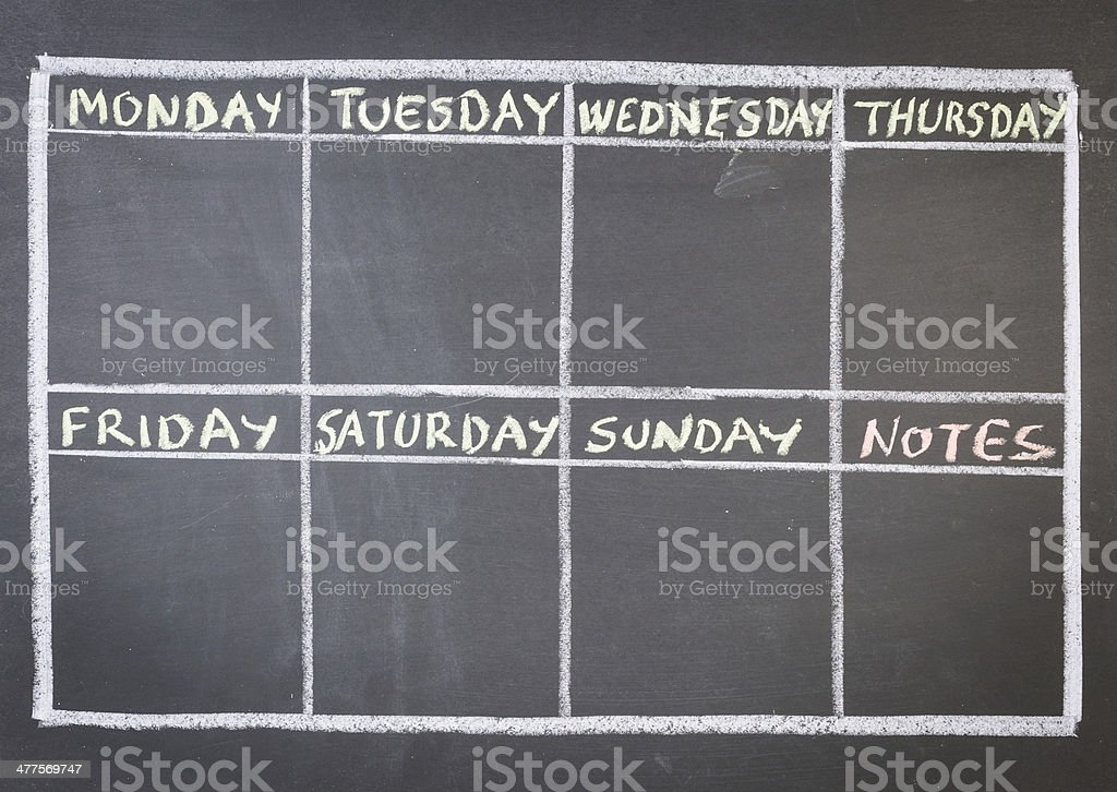 blackboard calendar stock photo