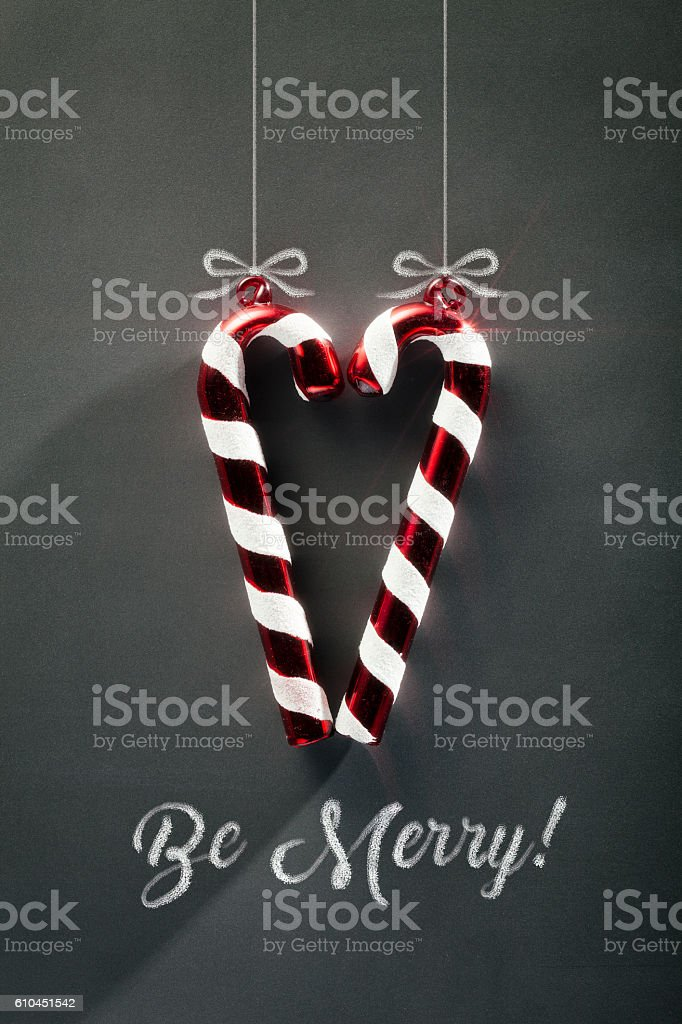 Blackboard Christmas Decoration - Be Merry Candy Cane Heart stock photo