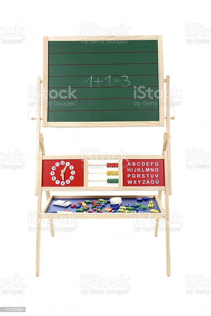 blackboard, clock and letters royalty-free stock photo