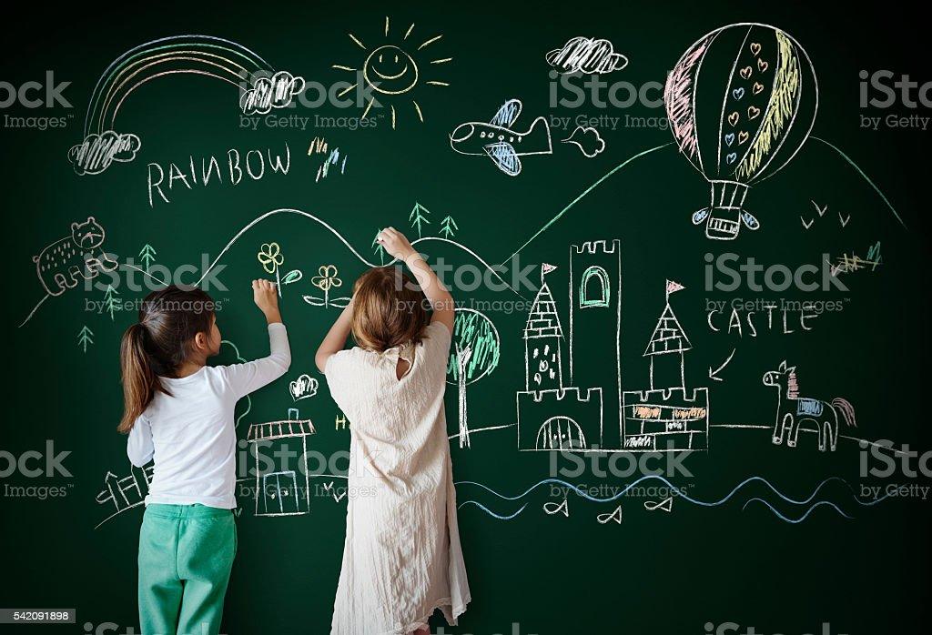 Blackboard Drawing Creative Imagination Idea Concept stock photo