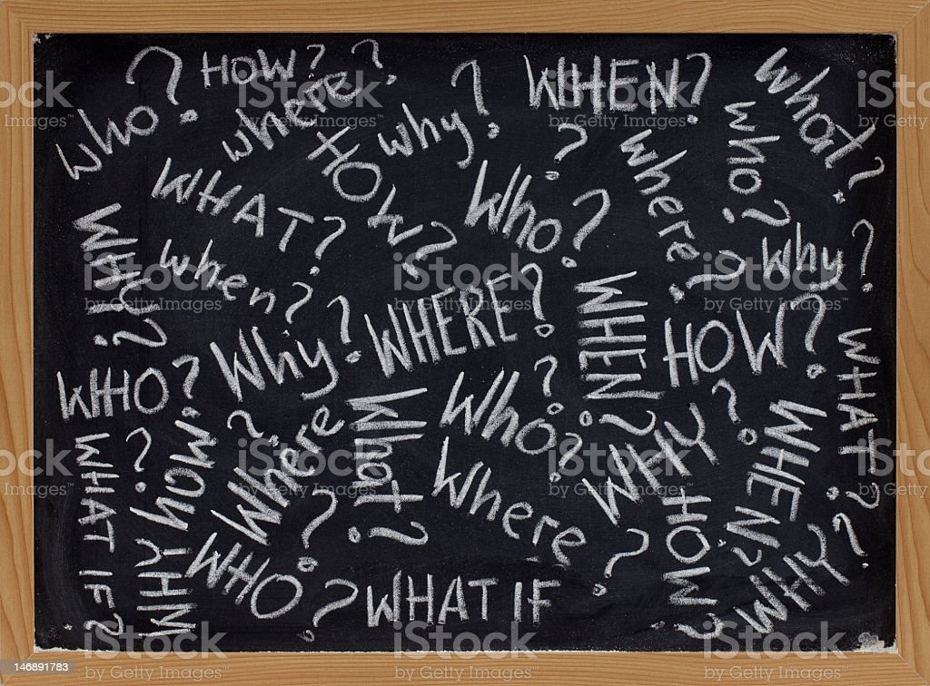 A blackboard filled with questions royalty-free stock photo