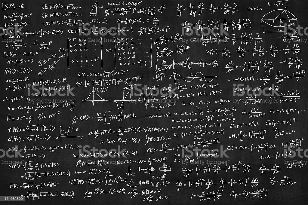 Blackboard full of equations royalty-free stock vector art
