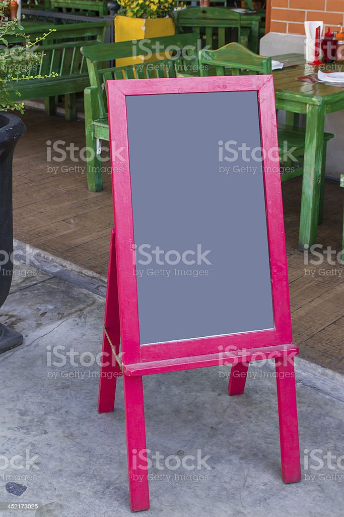 blackboard in red frame at restaurant royalty-free stock photo