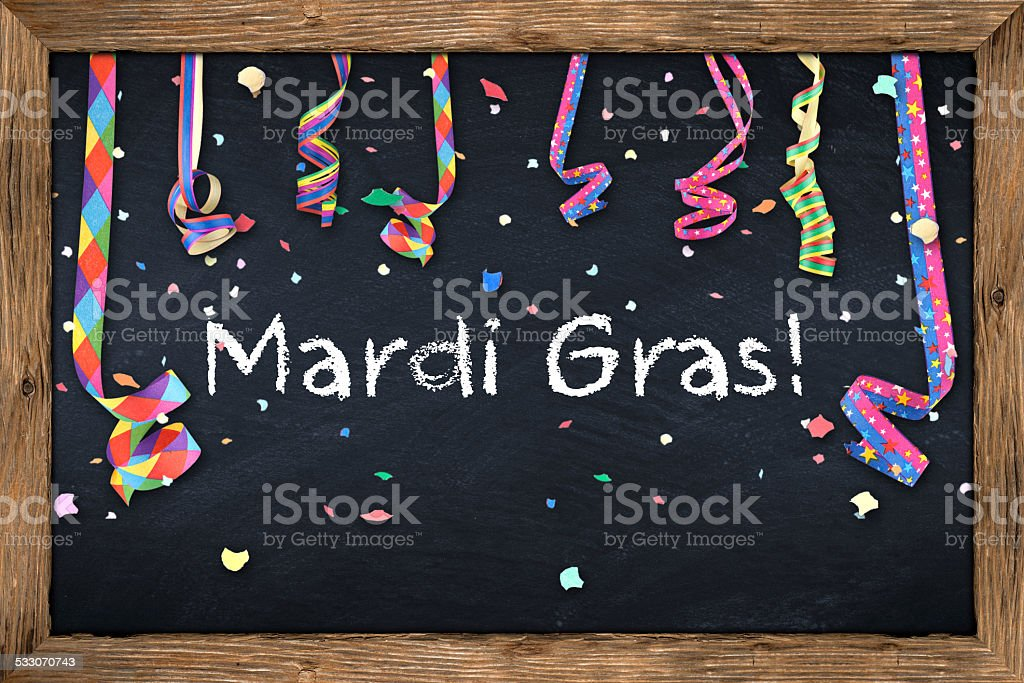 mardi gras blackboard stock photo