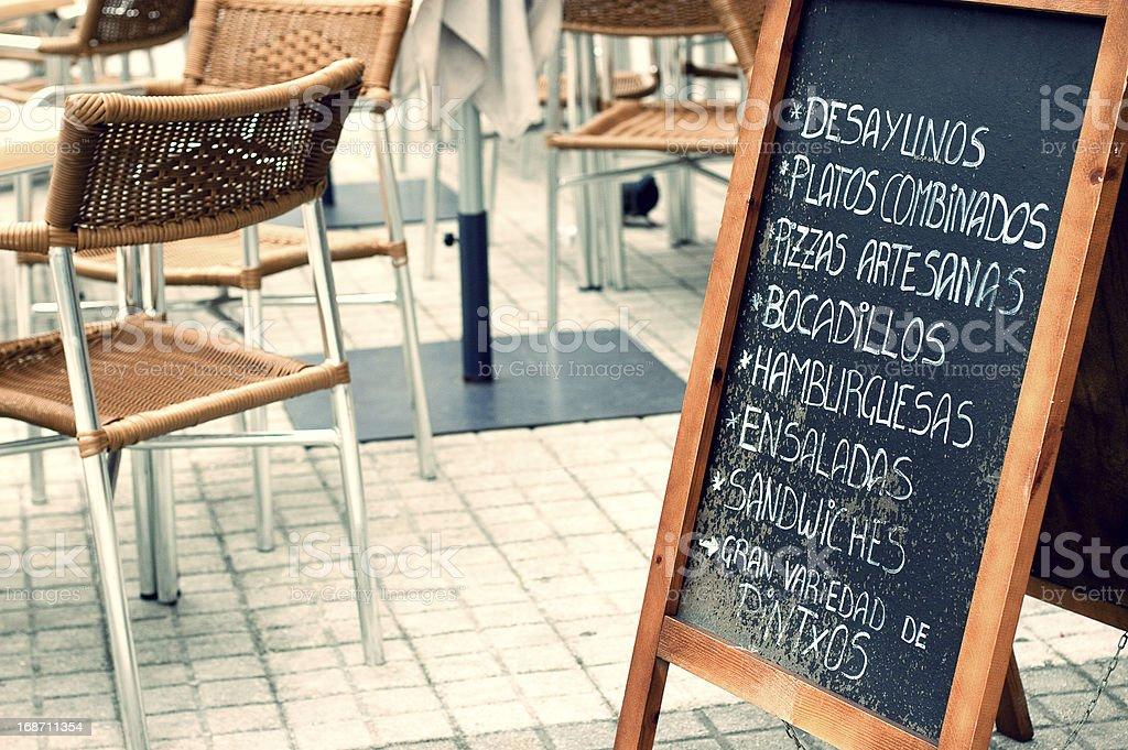 Blackboard menu in San Sebastian, Spain stock photo