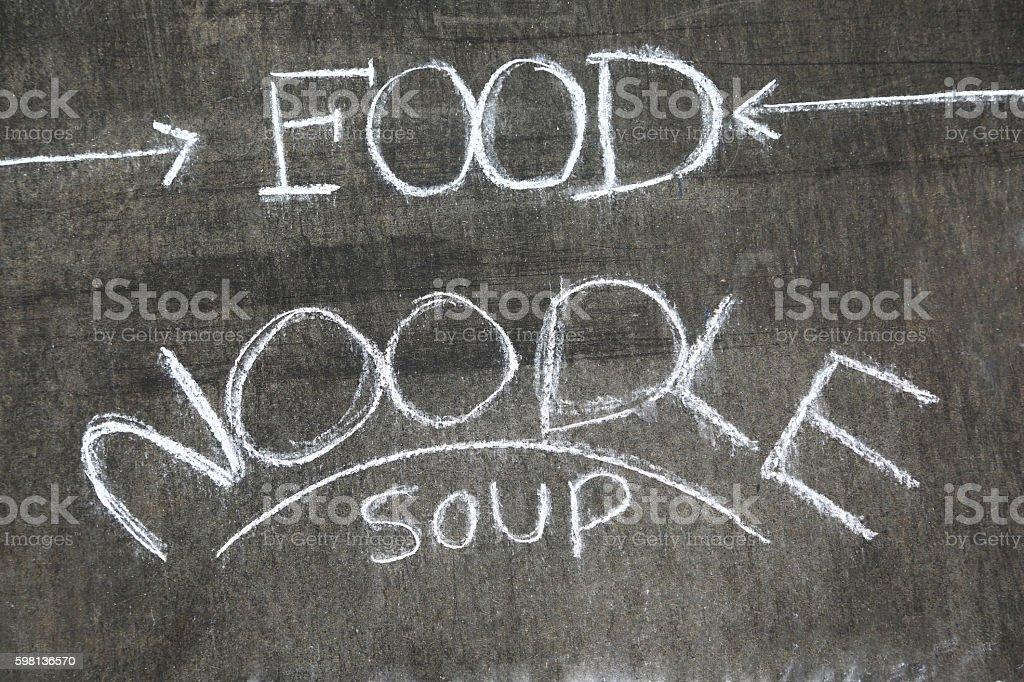 Blackboard of vietnamese restaurant promoting Noodle Soup stock photo