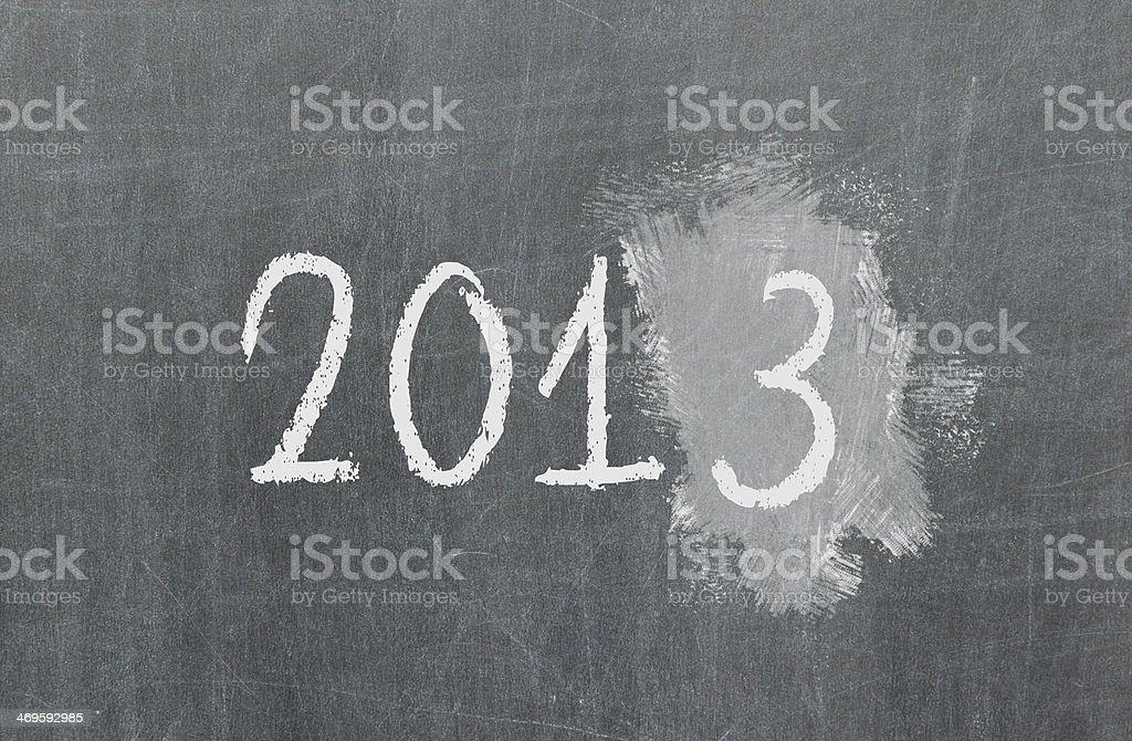 Blackboard or chalkboard texture, 2013 stock photo