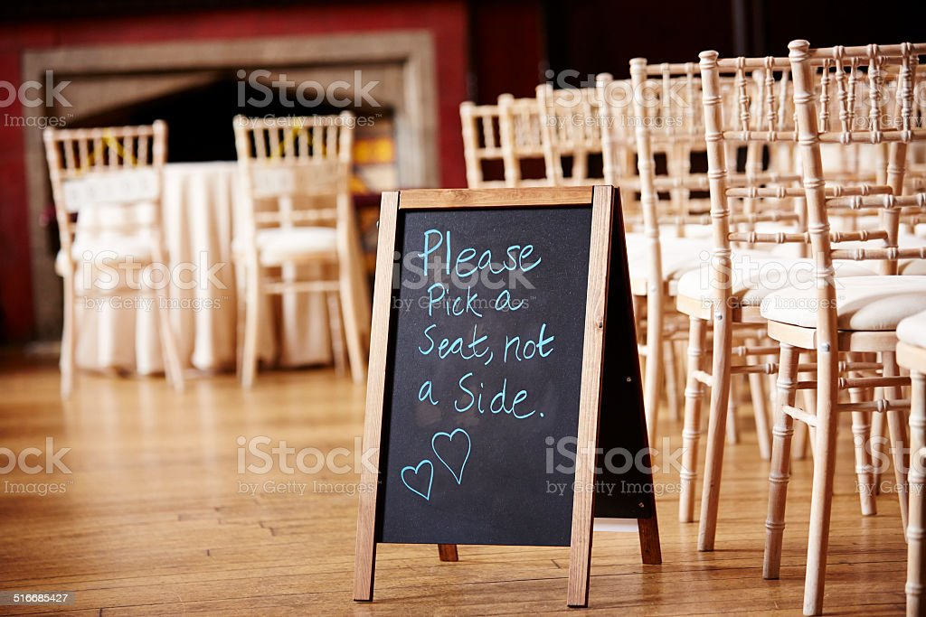 Blackboard sign at wedding stock photo